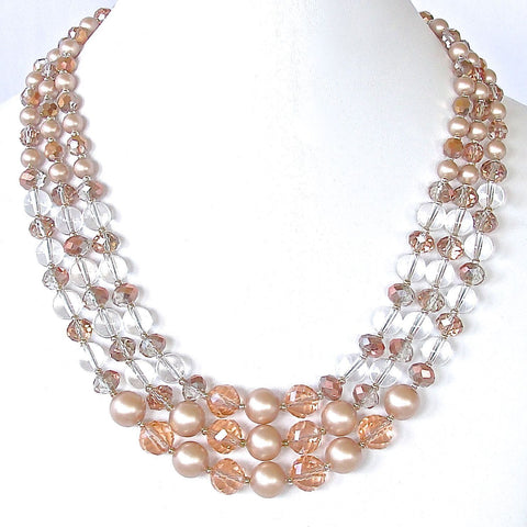 Elegant Blush and Champagne Cocktail Necklace