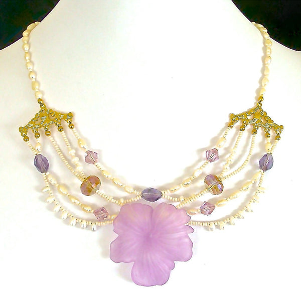 Floral and Pearl Statement Necklace