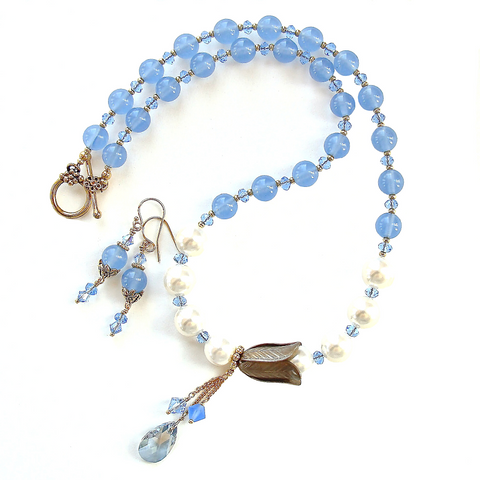 Floral Necklace with Blue Quartz