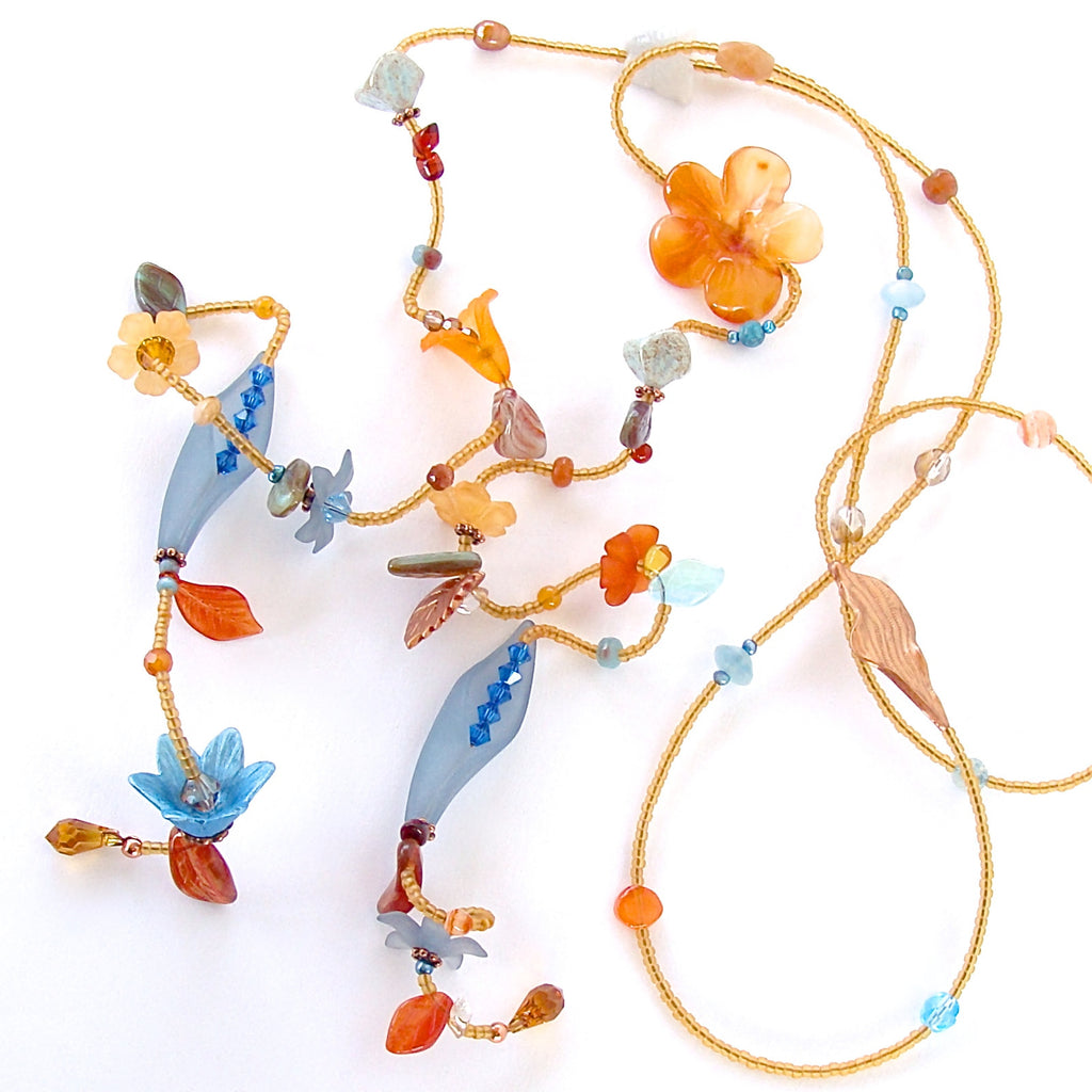 Sunset: Long Beaded Flower Necklace