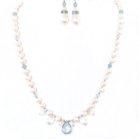 Freshwater Pearl Necklace with Aqua Quartz Pendant