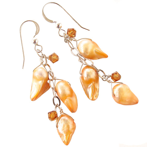 Freshwater Pearl Drop Earrings with Orange Crystals