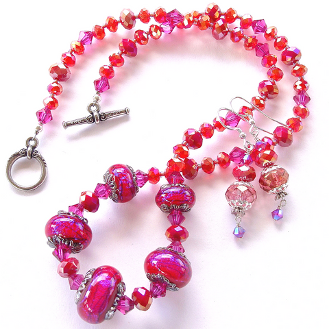 Fuchsia Necklace with Art Glass