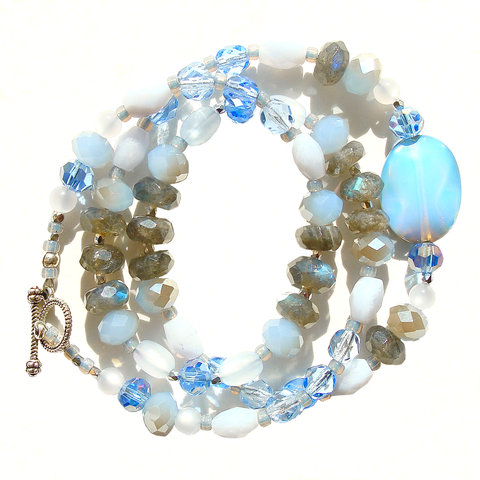 Gemstone Wrap Bracelet in Blue and Gray