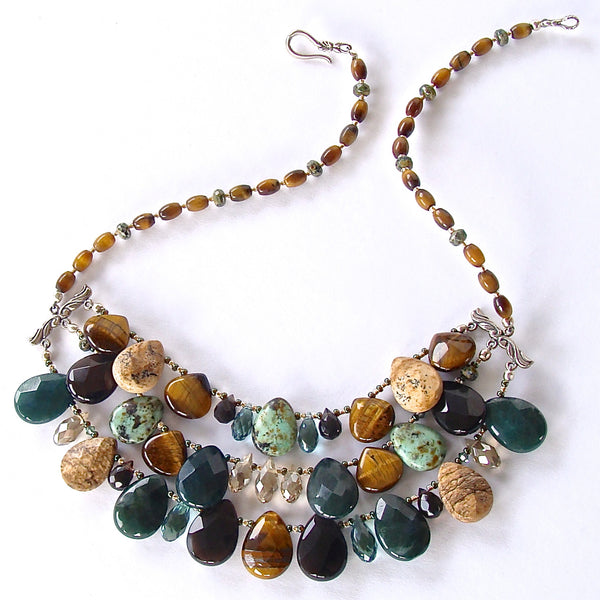 Sage: Green Stone Statement Necklace