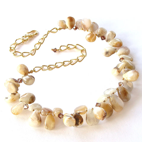 Gemstone Bib Necklace in Neutral Colors