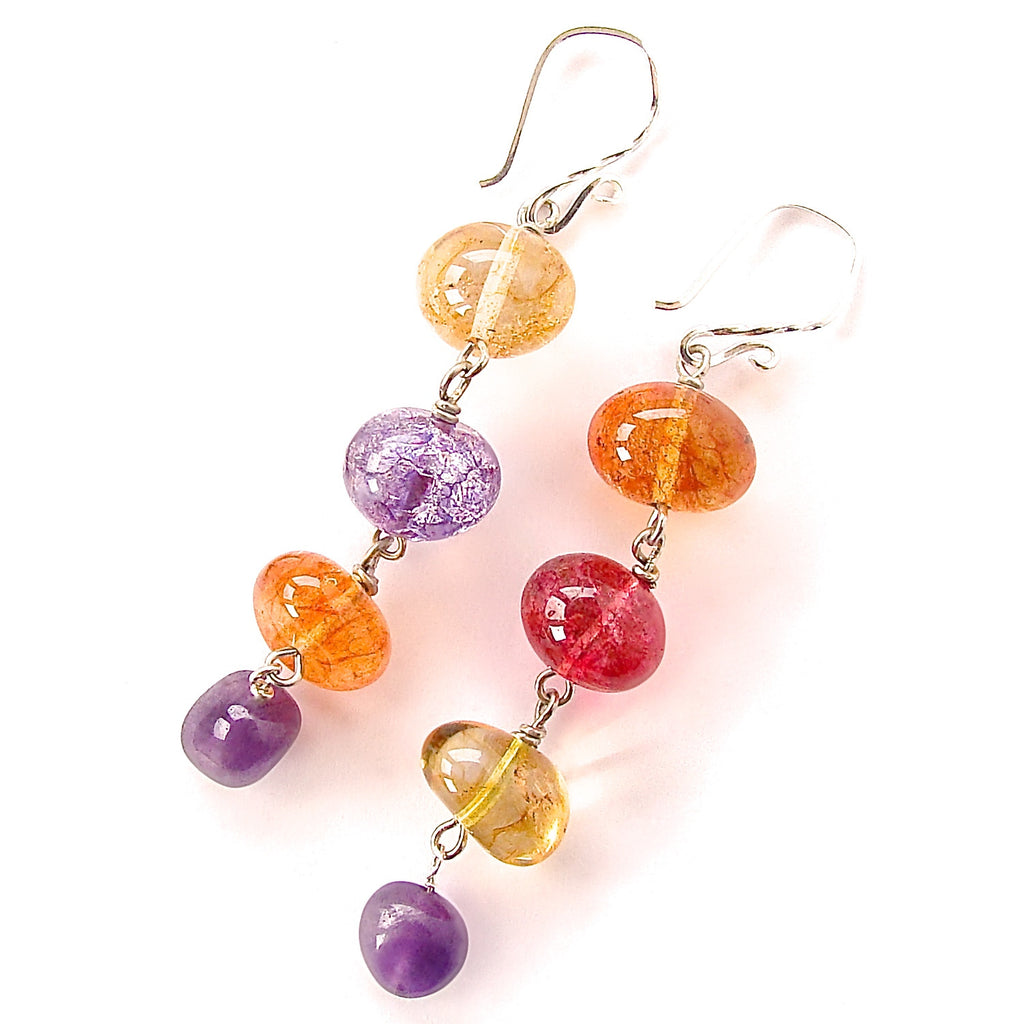 Gemstone Drop Earrings with Amethyst and Quartz