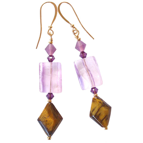 Gemstone Earrings in Purple and Gold