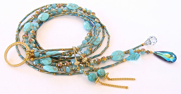 Gemstone Lariat in Blue and Green