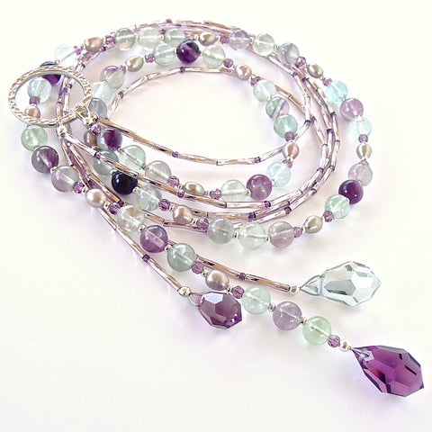 Super Moon: Gemstone Lariat in Green and Purple