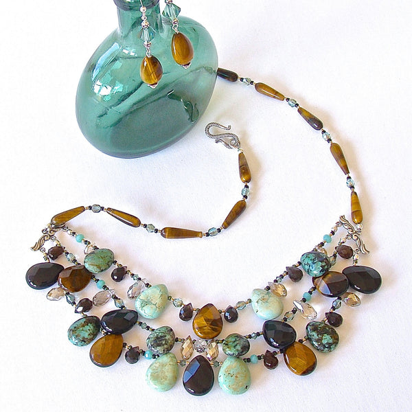 Gold and Green Beaded Gemstone Statement Necklace