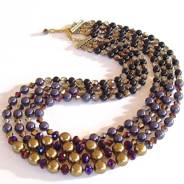 Gold and purple Swarovski pearl necklace