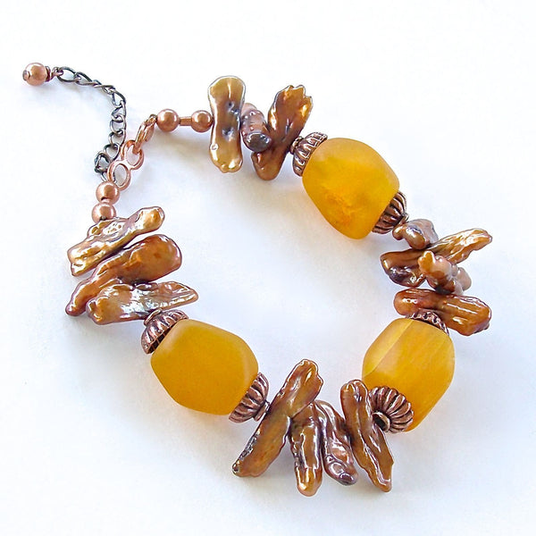 Elektor: Amber Colored Handmade Beaded Bracelet