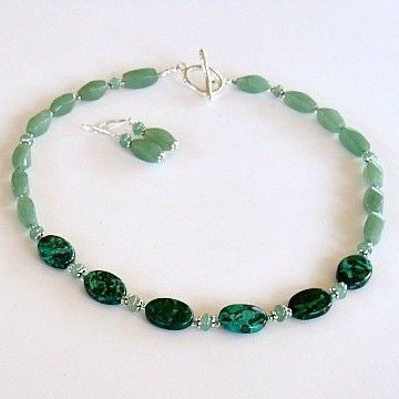 "Verdi: 19"" Aventurine and Malachite Necklace Set"