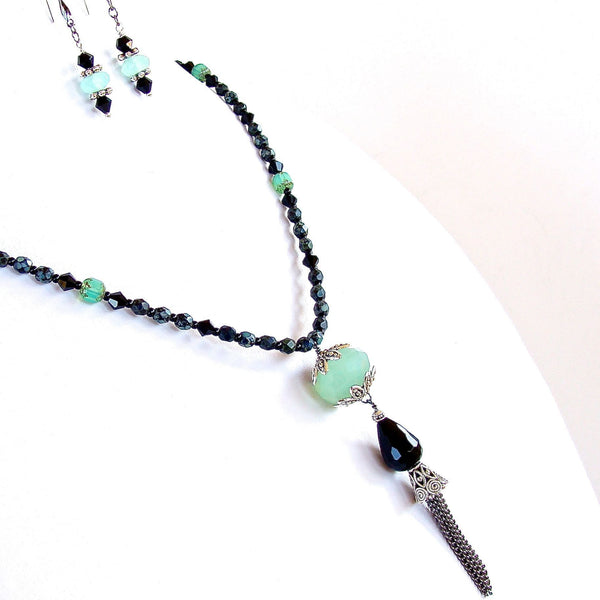 Black and green semi-precious tassel necklace