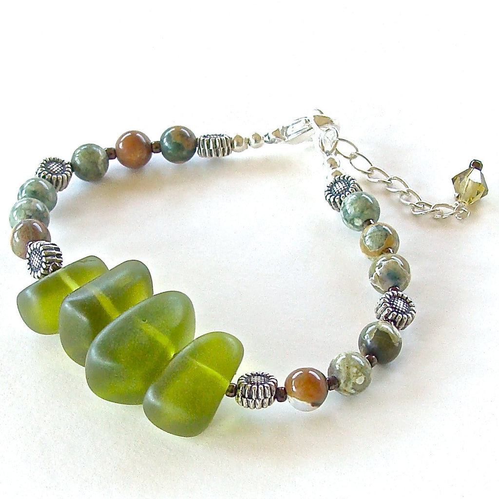 Green Sea Glass Handmade Beaded Bracelet