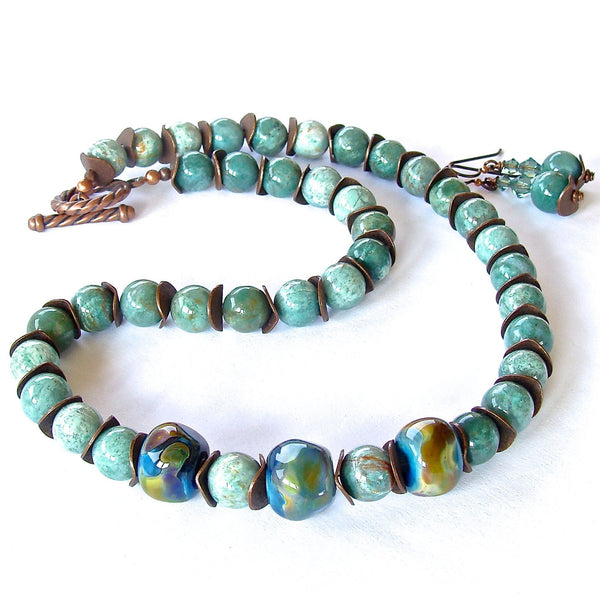 Green and Blue Ocean Jasper Beaded Necklace Set