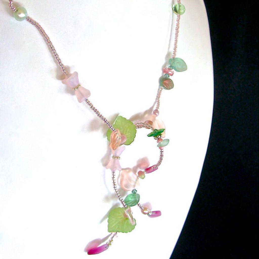 Green and Pink Floral Necklace