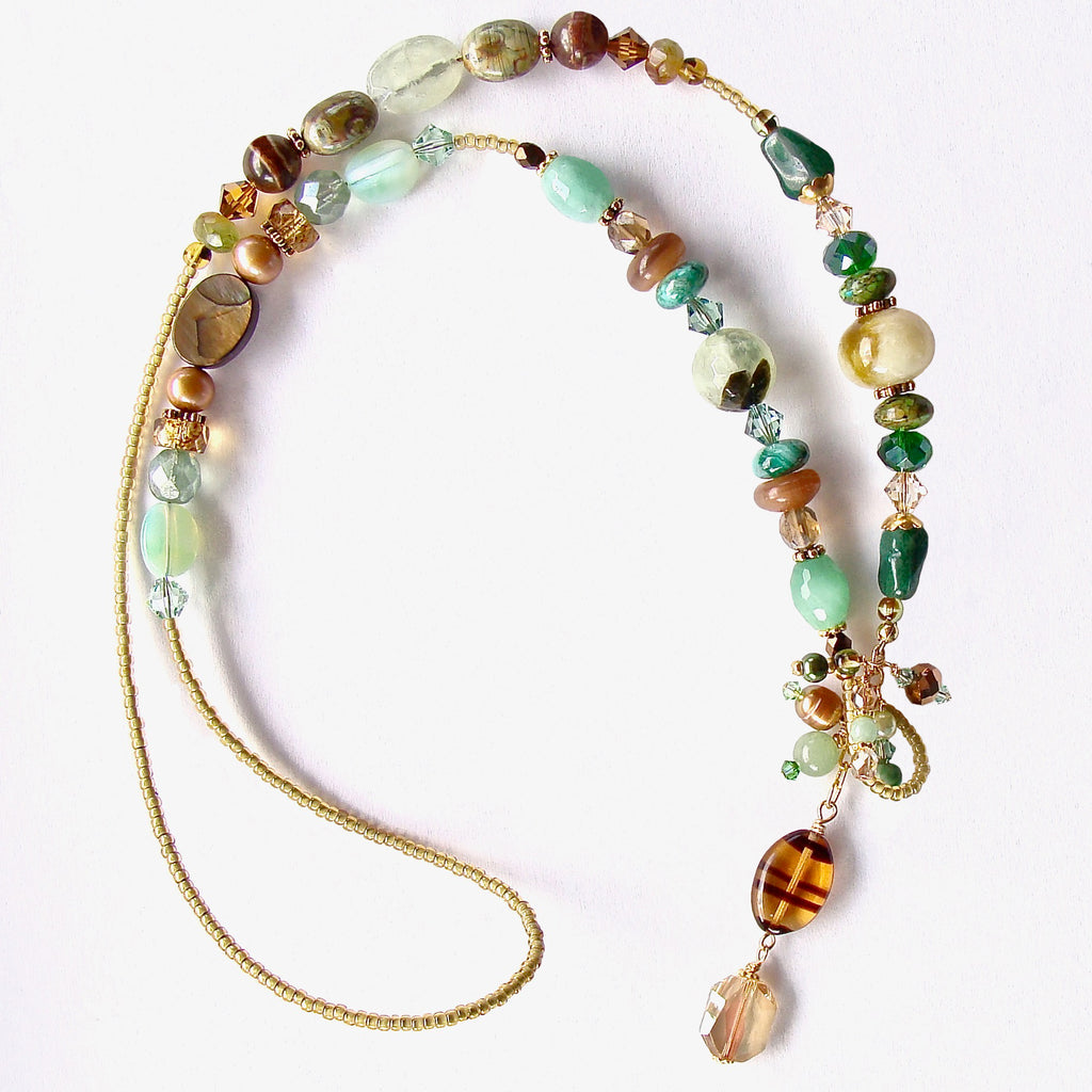 Green Stone Lariat Necklace