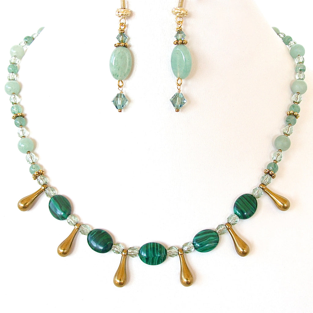 kundan necklace stone green antique online set