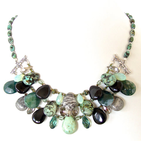 Green and Black Gemstone Bib Necklace