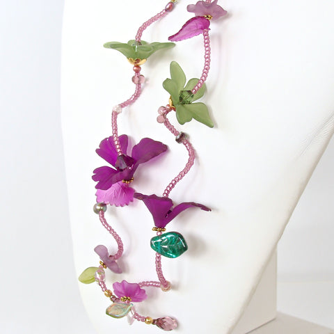 Green and purple flower necklace