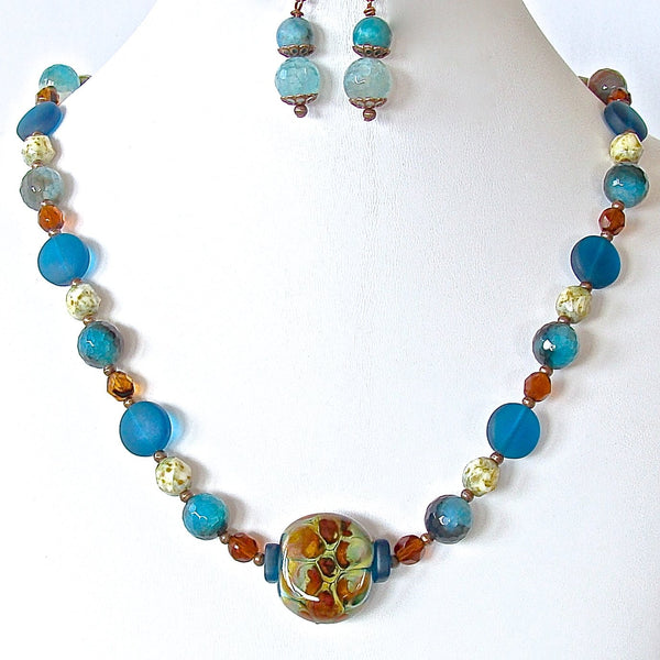 Handcrafted Teal Blue Glass Necklace