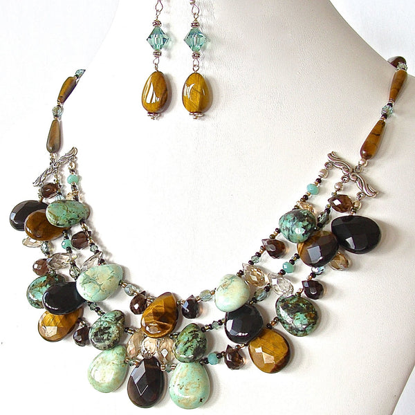 Handcrafted Tigers Eye Artisan Statement Necklace