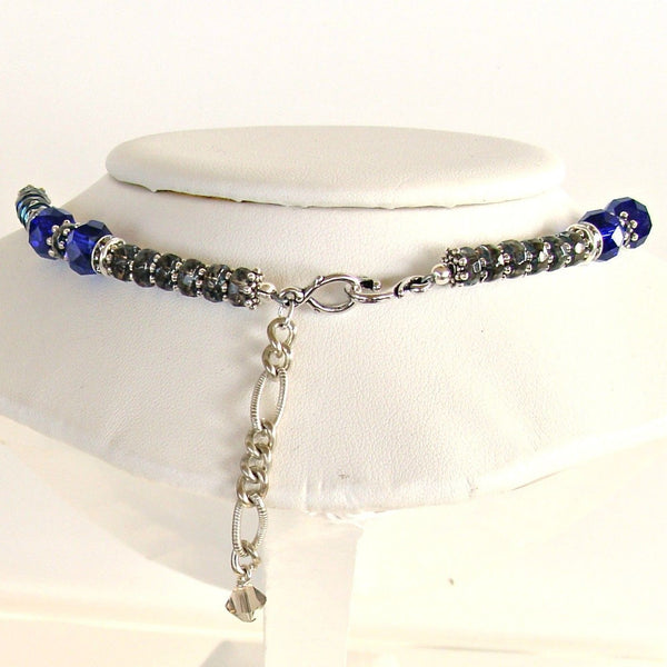 "Lucky: 17"" Royal Blue Crystal Necklace and Earrings"