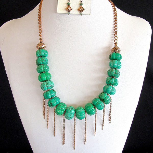 Handcrafted green necklace set