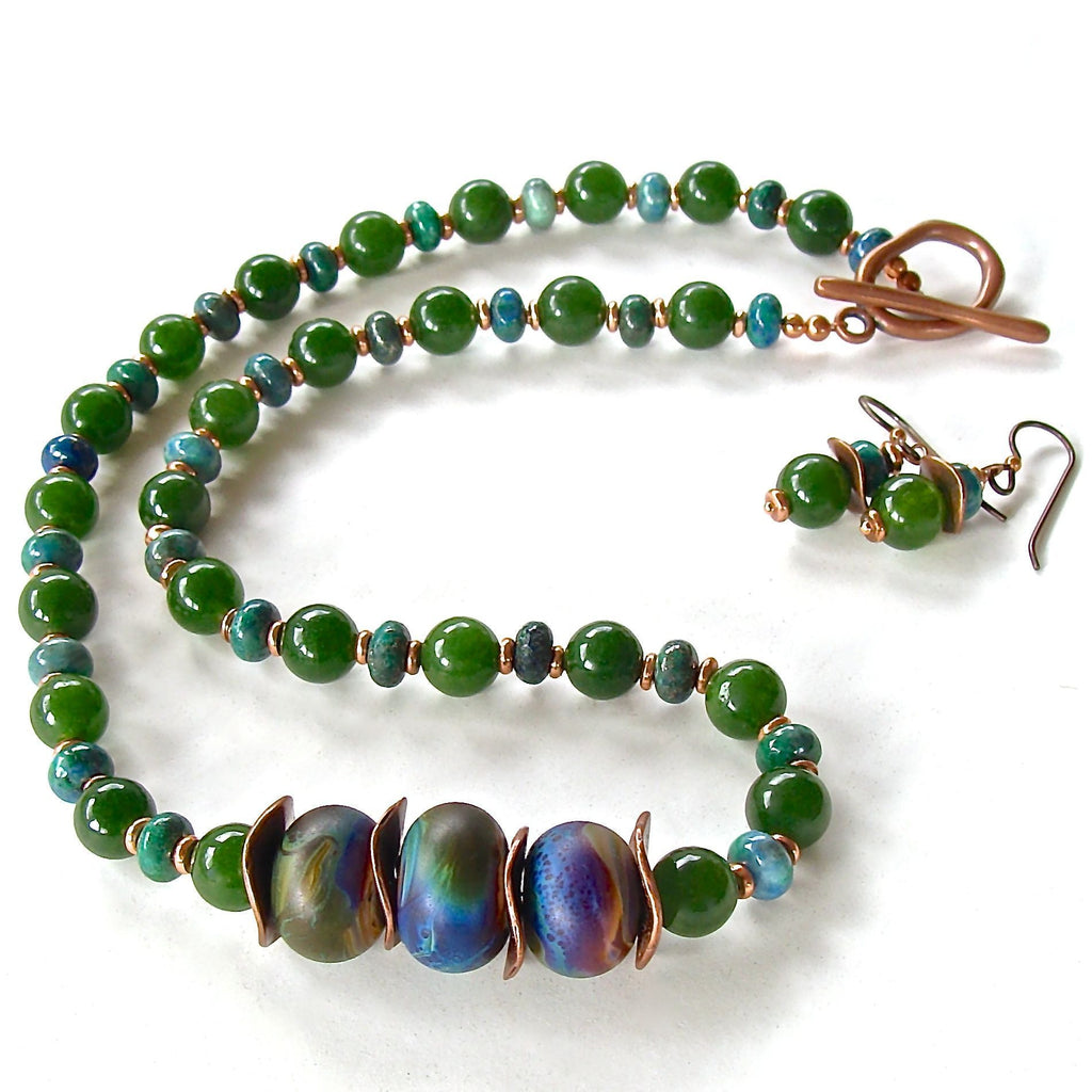 Handcrafted lampwork and jade gemstone necklace set