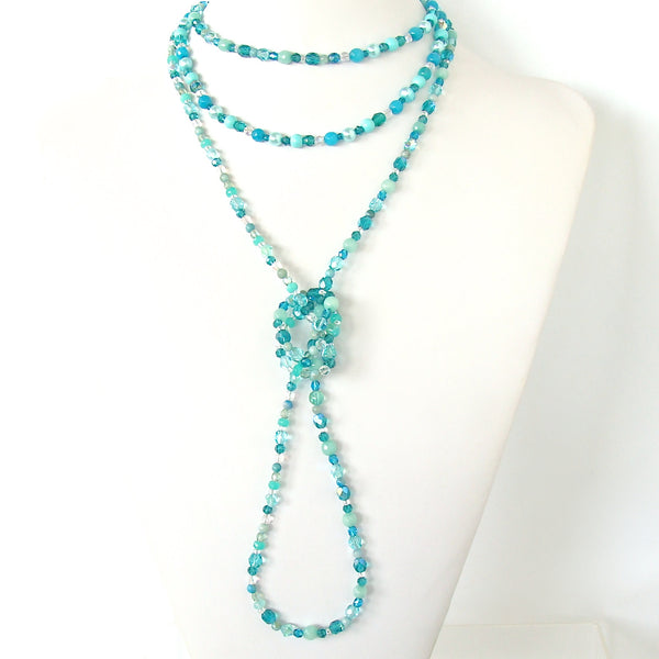 Handcrafted Long Teal Necklace