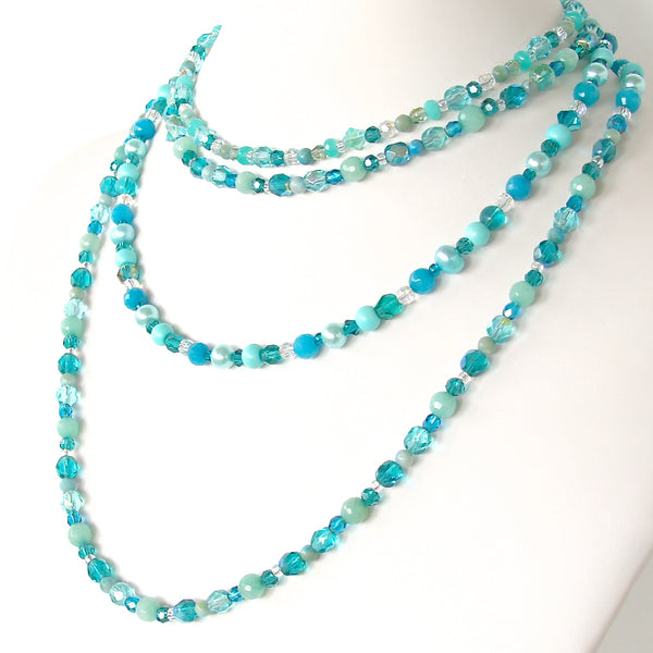 Handcrafted teal crystal necklace