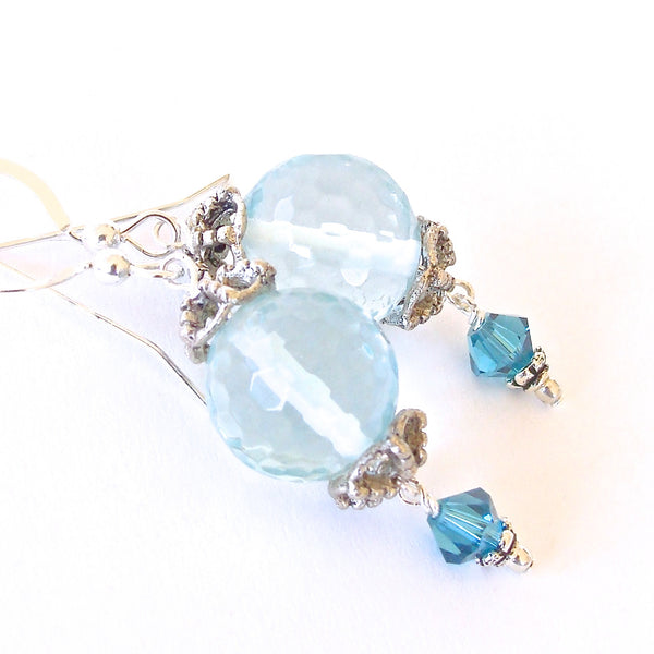 Handmade Aqua-Quartz and Blue Crystal Earring