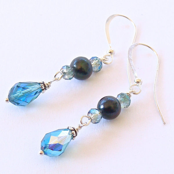 Handmade Aqua and Teal Crystal Earrings