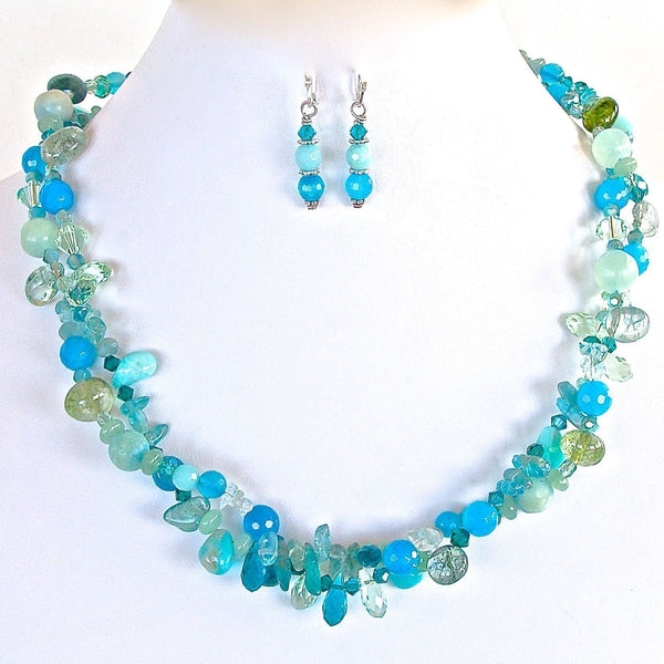 Handmade Aquamarine Twist Necklace Set