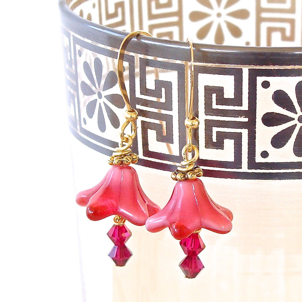 Handmade Fuchsia Flower Earrings