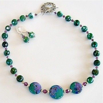 Handmade Lampwork and semi-precious necklace