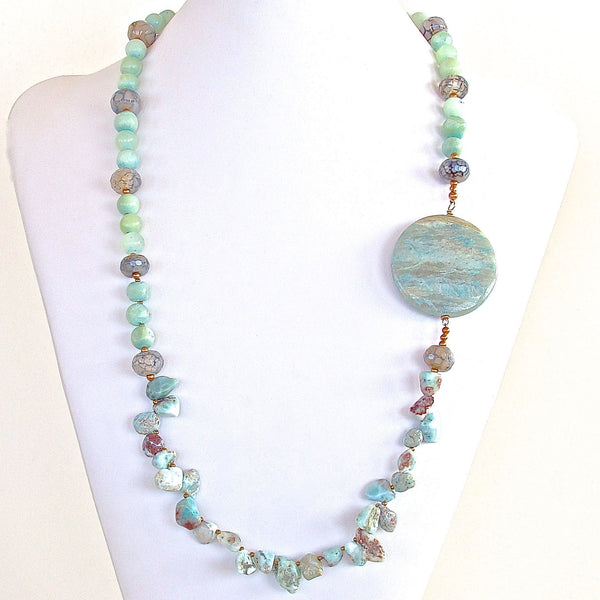 Handmade Larimar Beads Necklace
