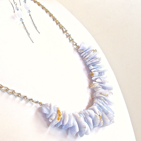 Handmade Light Blue Gemstone on Chain