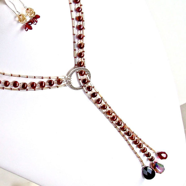 "Lovers Moon: 24"" Red Pearl Lariat Necklace Set"