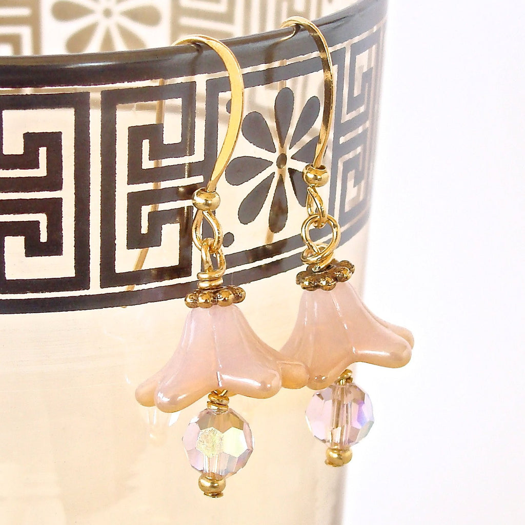Handmade Pink Flower Earrings