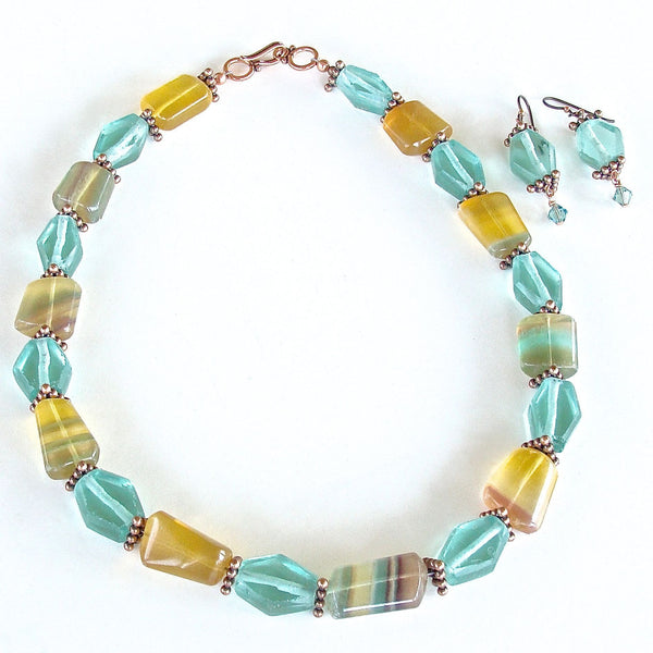 Handmade Rainbow Fluorite Necklace Set