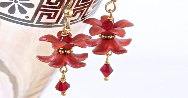 Handmade Red Flower Earrings