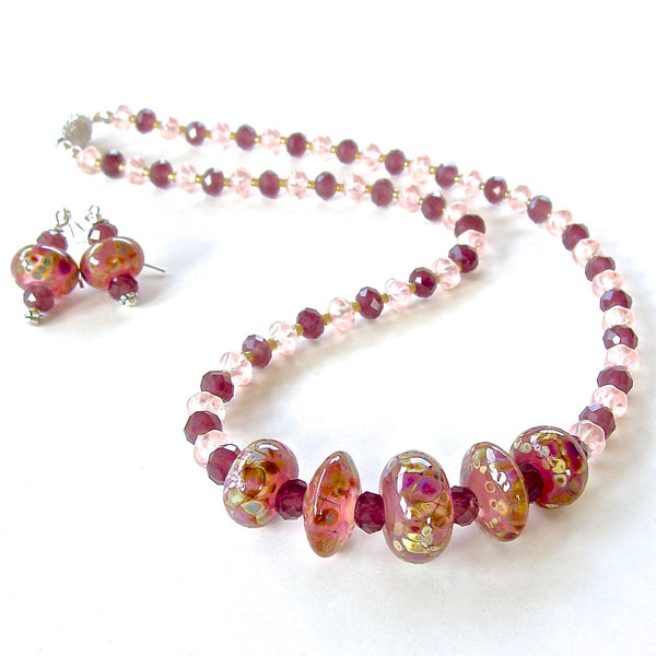 Handmade art glass beaded necklace set