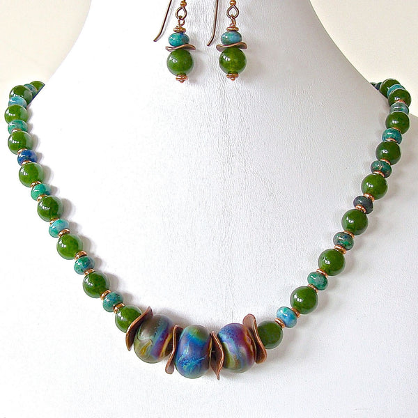 Handmade beaded green and blue necklace set