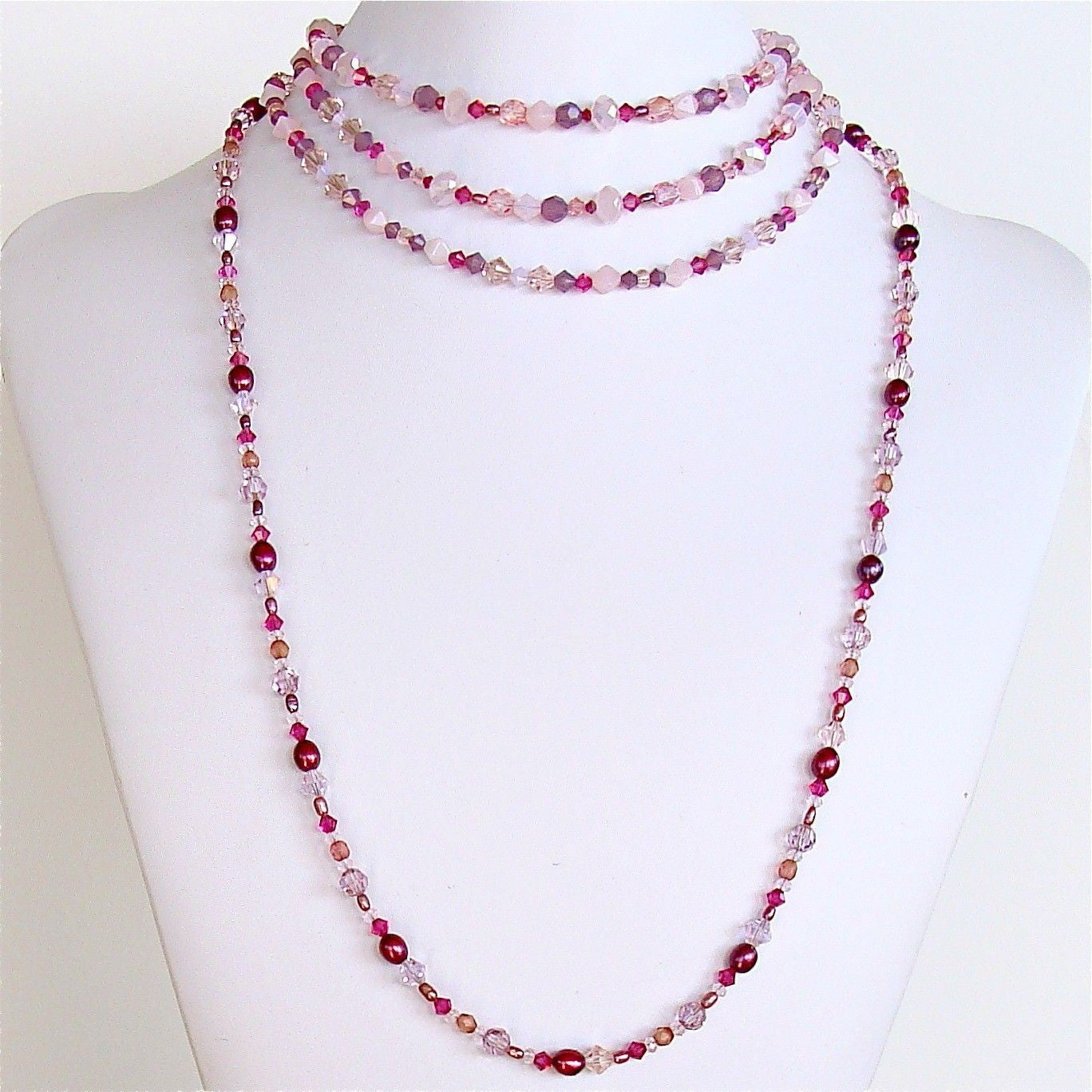 handmade pink beaded necklace