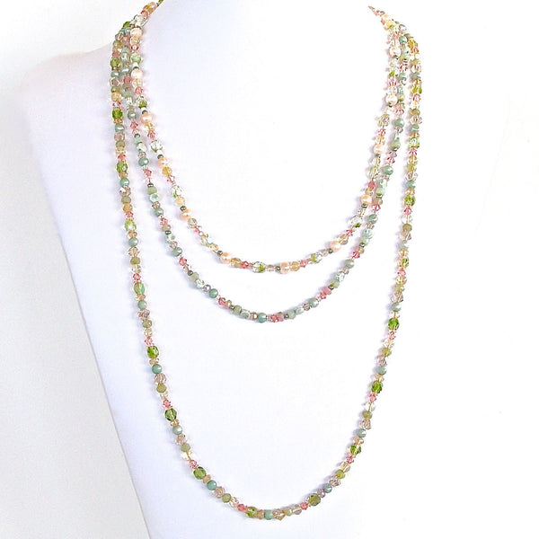 Handmade pink and green glass necklace