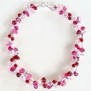 Handmade pink gemstone necklace