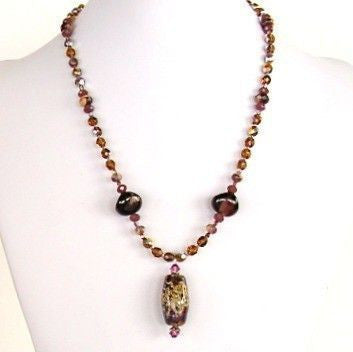 "Gustav: 19"" Purple Pendant Necklace"